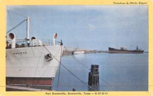 Brownsville Texas Port Brownsville Boat Harbor Antique Postcard K46888