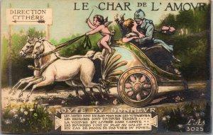 Antique - FRANCE POSTCARD - LE CHAR DE L ' AMOUR - CHARIOT