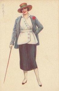 Art Deco ; COLOMBO , Female Sports Fashion Portrait, Walking Stick , 1910-20s