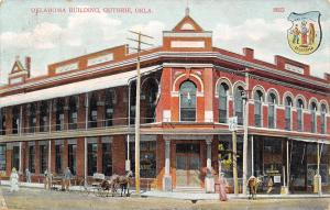 Guthrie OK~Oklahoma Business Building~Bank~Owl Drug Store~State Seal~1910 PC