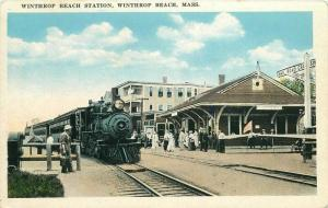 Winthrop Beach Station Massachusets Postcard railroad Train  748