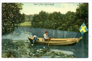 Two People On A Canoe, Parti Fran Ronnebya, Sweden, 1900-1910s