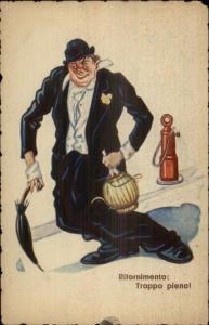 Wino Drunk Walking Down the Street - Fire Hydrant - Italian Comic Postcard