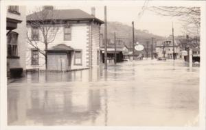 Street Flood Scene Esso & Amoco Gas Stations Real Photo