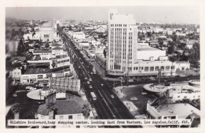 California Los Angeles Wilshire Boulevard Looking East From Western Real Photo