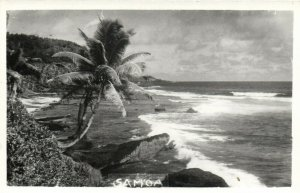 PC CPA SAMOA, PACIFIC, BEACH SCENE AND PALM TREES, Vintage Postcard (b19441)