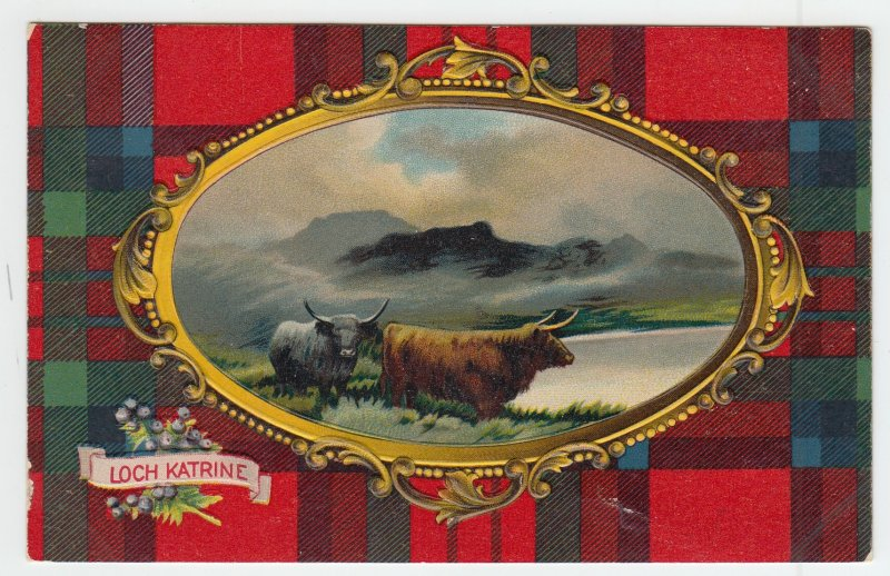 P1974 old postcard loch katrine embossed cattle view pond scotland used