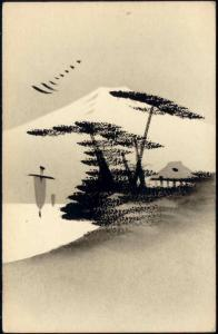 Japan, Hand Painted Art Postcard in Oil, Mount Fuji (1910s) 2