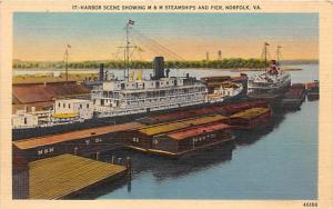 Virginia  Norfolk M & M Steamships Pier and Barges