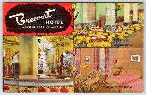 1952 BREVOORT HOTEL CHICAGO INTERIOR VIEWS CRYSTAL BAR DINING ROOM GUEST ROOM