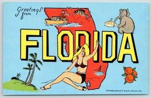 Florida~Bikini Bathing Beauty~Large Letter Linen~Elephants Sits~Fishing Yacht