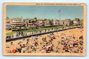 Postcard NJ Ocean Grove South End Bathing Beach Boardwalk Vintage Linen K14