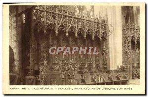 Old Postcard Metz Cathedral Stalls