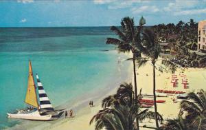 Sail Boat, Waikiki Beach on the Island of Oahu, Hawaii, 40-60s