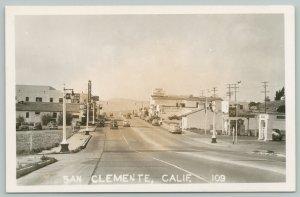 San Clemente California~Main Street~Johnny's Malt Shop~Adair's Market~1940s RPPC