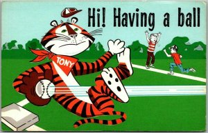 Kellogg's Frosted Flakes Advertising Postcard Tony the Tiger / Baseball c1960s