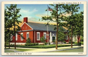 Southern Pines North Carolina~US Post Office~Library~1940 Linen Postcard