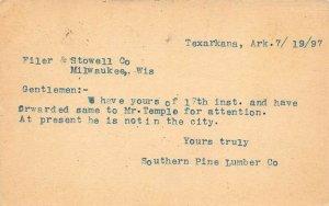 LPA54 Texarkana Arkansas Postcard 1897 Pioneer Card Southern Pine Lumber Company