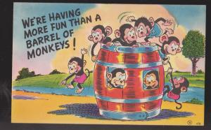 Comic Postcard - More Fun Than A Barrel Of Monkeys - Used 1945
