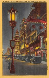 Chinatown At Night SAN FRANCISCO, CA Street Scene c1940s Vintage Linen Postcard