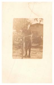 Vintage view of boy with Bike ,  RPC