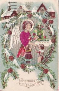 Christmas Greetings Angel With Children Embroidered 1907