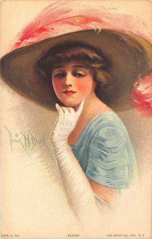 Frank H Desch Eloise Beautiful Woman Signed Postcard #303-4