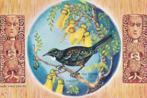 Tui Maori Wood Carving Bird Limited Edition New Zealand Postcard