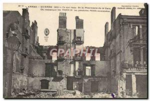 Old Postcard Arras train station Pharmacy Army