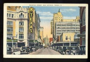 San Antonio, Texas/TX Postcard, Houston Street, Texas Theater, 1938!