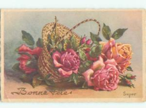 foreign Old Postcard signed ROSE FLOWERS IN THE BASKET AC3773