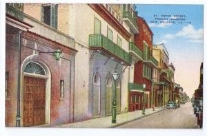 New Orleans LA St Peter Street French Quarter Linen Postcard