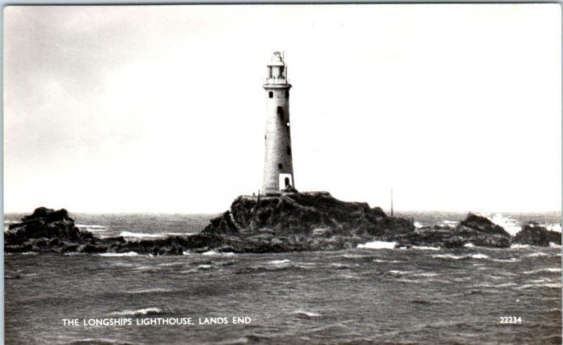 RPPC  CORNWALL, England  UK   LANDS END  - LONGSHIPS LIGHTHOUSE Postcard