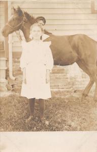 F27/ Animal RPPC Photo Postcard c1910 Girl with Horse 11
