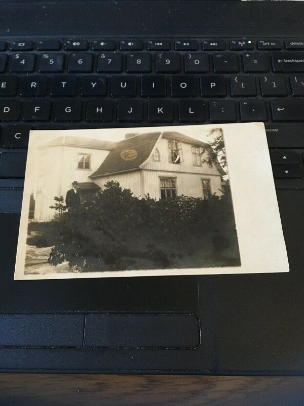 Antique Photo Postcard RPPC- Man Next to  Old House 2nd Man in Window