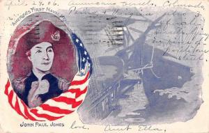 Patriotic Greetings John Paul Jones Naval Hero Vintage Postcard JD933338