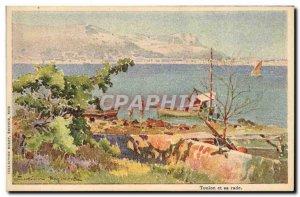 Old Postcard Fantasy Illustrator Casimir Raymond Toulon and its harbor