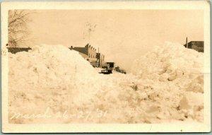 1931 CHEYENNE WELLS, Colorado RPPC Real Photo Postcard Snow Scene March 26-27