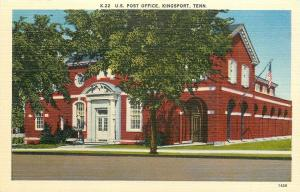 Kingsport Tennessee~US Post Office~Red Brick~1940s Linen Postcard