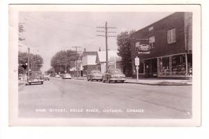Real Photo, Main Street, Cars, Rexall Drugs, Barber Shop, Belle River, Ontario,