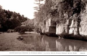 Illinois White Pines Forest State Park Overhanging Rocks In Picnic Area Real ...