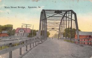 Spence Iowa~Main Street Wagon Bridge~1910 PC
