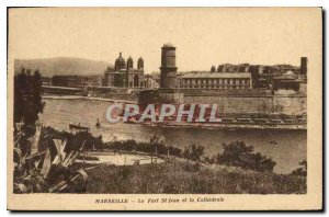 Old Postcard Marseille Port St John and the Cathedral