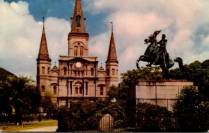 Louisiana New Orleans St Louis Cathedral and General Jackson Memorial 1953