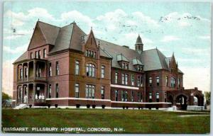 Concord, New Hampshire Postcard MARGARET PILLSBURY Hospital w/ 1907 Cancel