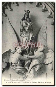 Old Postcard Anetz Interure From & # 39Eglise Statue Of Virgin