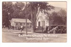 Real Photo, Priest and Parishioners Outside Catholic Church and Rectory, Suth...