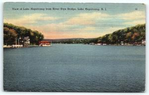 Postcard NJ Lake Hopatcong View of Lake Hopatcong River Styx Bridge F02