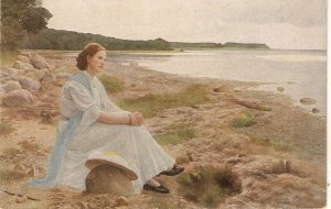 G.Vermehren. Lady waiting by the sea. Senhsucht Fine painting, vintgage Germa