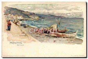 Old Postcard Illustrator Menton Scirocco Boat